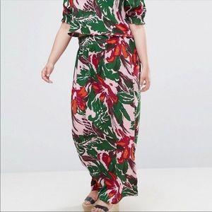 ASOS Palm Print Maxi Skirt Size 16